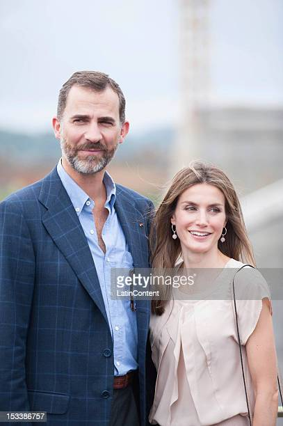 Prince Felipe de Borbon of Spain and his wife Princess Letizia Ortiz pose for a picture during their visit to the expansion works of the Panama Canal...