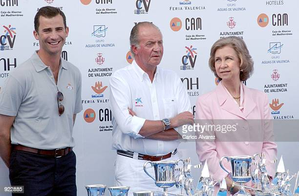 Prince Felipe King Juan Carlos and Queen Sofia of Spain attend the final prize ceremony of the IV Sailing Trophy Queen Sofia July 07 2002 in Valencia...