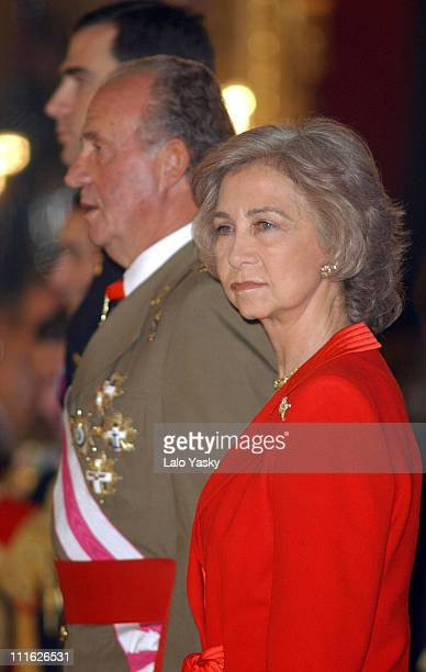 Prince Felipe King Juan Carlos I and Queen Sofia of Spain attend the first official event of 2003 during the traditional 'Pascua Militar' at the...