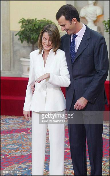 Prince Felipe of Bourbon and Letizia Ortiz at Pardo Palace after the official announcement of their engagement In Madrid Spain on November 06 2003