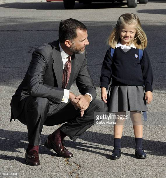 Prince Felipe of Spain and his daughter Leonor arrive at 'Santa Maria de los Rosales' School on September 15 2010 in Aravaca near of Madrid Spain