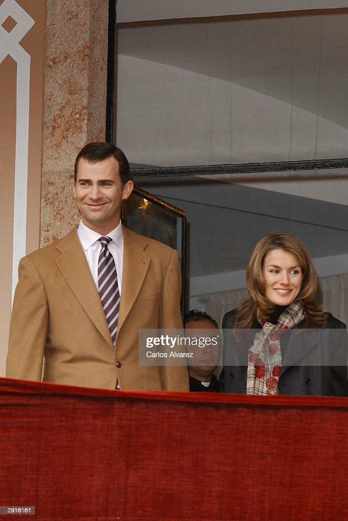 Prince Felipe of Spain and his fiancee Letizia arrive at the monastery of Covadonga January 30, 2004 in Covadonga, Spain.
