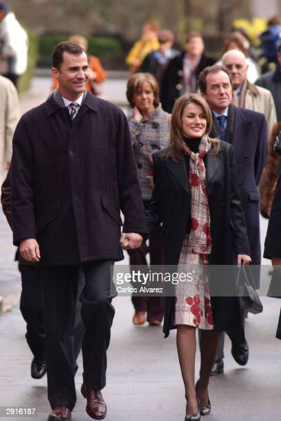 Prince Felipe of Spain and his fiancee Letizia arrive at the monastery of Covadonga January 30 2004 in Covadonga Spain