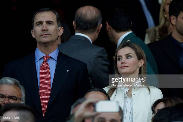 Prince Felipe of Spain and his wife princess Letizia attends the UEFA Champions League Semi Final first leg match between Club Atletico de Madrid and...
