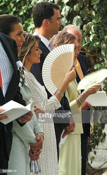 Prince Felipe of Spain and his wife Princess Letizia of Spain attend the Christening of their niece Princess Irene the daughter of Princess Cristina...