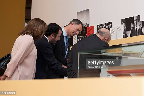 Prince Felipe of Spain and Jose Ignacio Wert attend 'La generacion del 14 Ciencia y Modernidad' Exhibition Opening at Biblioteca Nacional on March 13...