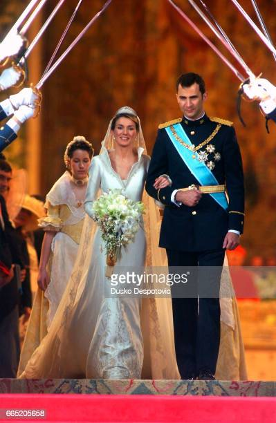 Prince Felipe of Spain and Letizia Ortiz during their wedding ceremony at the Almudena Cathedral.   Location: Madrid, Spain.