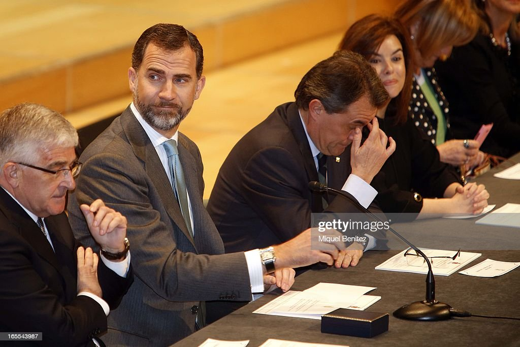 Prince Felipe of Spain and President of the Catalan regional government Artur Mas attend a ceremony for recently graduated judges at the Auditori on April 4, 2013 in Barcelona, Spain.