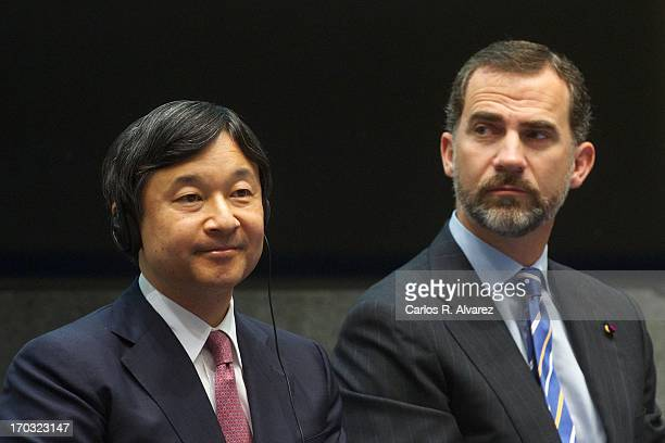 Prince Felipe of Spain and Prince Naruhito of Japan attend the 'Spanish Japanese Business Cooperation Comitee' inauguration meeting at the Casa de la...