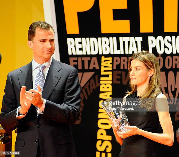 Prince Felipe of Spain and Princess Leticia of Spain attend the 13th annual PIMES awards at the Palau Sant Jordi on June 7 2010 in Barcelona Spain