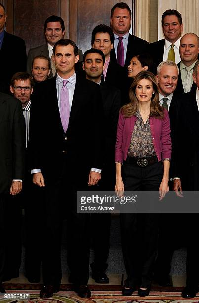 Prince Felipe of Spain and Princess Letizia of Sapin attend 'Global Executive MBA' audience at the Zarzuela Palace on May 5 2010 in Madrid Spain