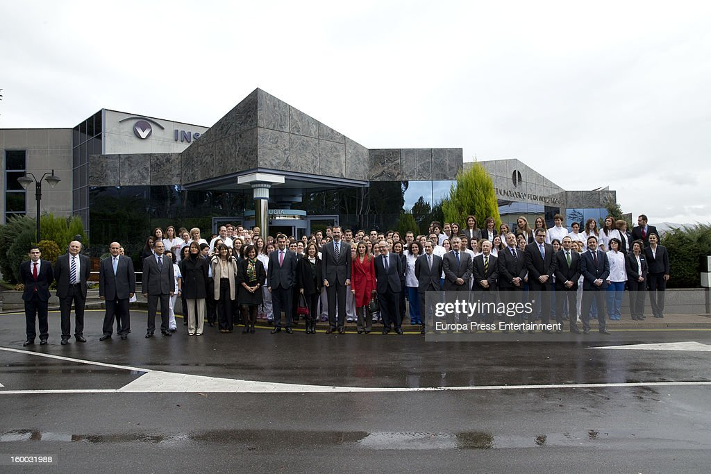 Prince Felipe of Spain and Princess Letizia of Spain are seen visiting 'Eyes Institute Fernandez Vega' on January 24, 2013 in Oviedo, Spain.
