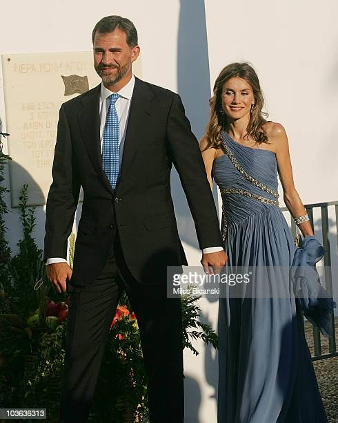 Prince Felipe of Spain and Princess Letizia of Spain arrive for the wedding of Prince Nikolaos and Miss Tatiana Blatnik at the Cathedral of Ayios...