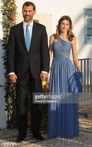 Prince Felipe of Spain and Princess Letizia of Spain arrive to attend the wedding of Tatiana Blatnik with Prince Nikolaos of Greece at the Cathedral...