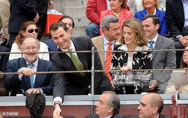 Prince Felipe of Spain and Princess Letizia of Spain attend a bullfight at Las Ventas Bullring on May 27 2008 in Madrid Spain