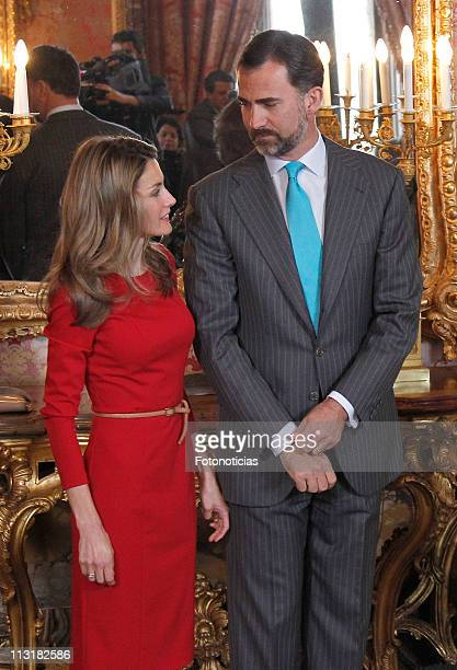Prince Felipe of Spain and Princess Letizia of Spain attend a lunch in ocassion of the '2011 Cervantes Award' at The Royal Palace on April 26, 2011...