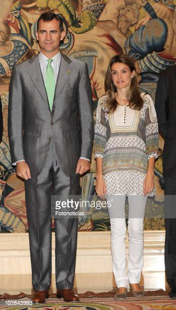 Prince Felipe of Spain and Princess Letizia of Spain attend an audience at Zarzuela Palace on July 13 2010 in Madrid Spain