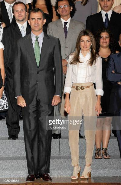 Prince Felipe of Spain and Princess Letizia of Spain attend an audience at Zarzuela Palace on July 23 2010 in Madrid Spain