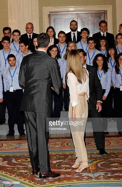 Prince Felipe of Spain and Princess Letizia of Spain attend an audience at Zarzuela Palace on July 23, 2010 in Madrid, Spain.