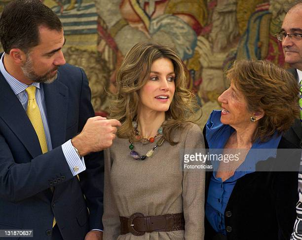 Prince Felipe of Spain and Princess Letizia of Spain attend an audience at Zarzuela Palace on November 15 2010 in Madrid Spain