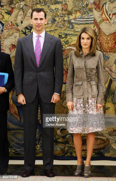 Prince Felipe of Spain and Princess Letizia of Spain attend an official audience at Zarzuela Palace on April 14 2009 in Madrid Spain