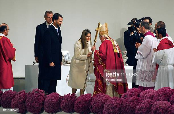 Prince Felipe of Spain and Princess Letizia of Spain attend an open air mass celebrated by Pope Benedict XVI at Obradoiro Square on November 6 2010...