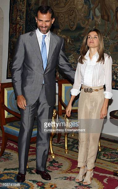 Prince Felipe of Spain and Princess Letizia of Spain attend an audience with President of Mallorca's Consell Francina Armengol Socias at Almudaina...