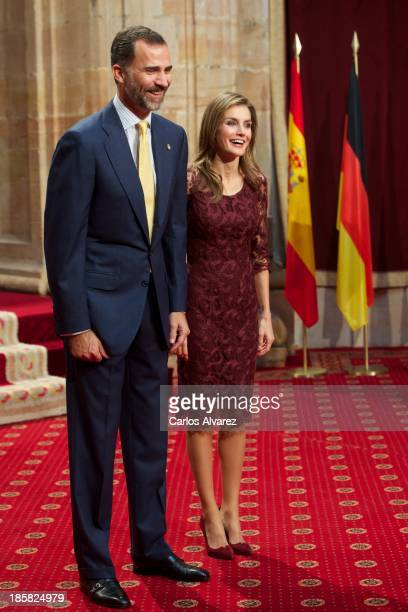 Prince Felipe of Spain and Princess Letizia of Spain attend an audience with Principe de Asturias Awards 2013 winners at the Reconquista Hotel on...