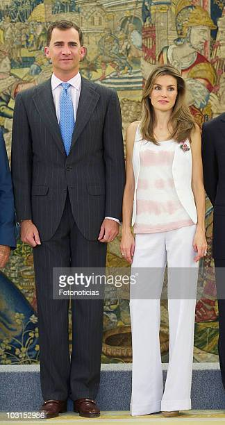 Prince Felipe of Spain and Princess Letizia of Spain attend audiences at Zarzuela Palace on July 29 2010 in Madrid Spain