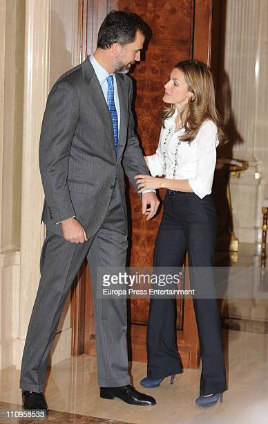 Prince Felipe of Spain and Princess Letizia of Spain attend audiences at Zarzuela Palace on March 24, 2011 in Madrid, Spain.