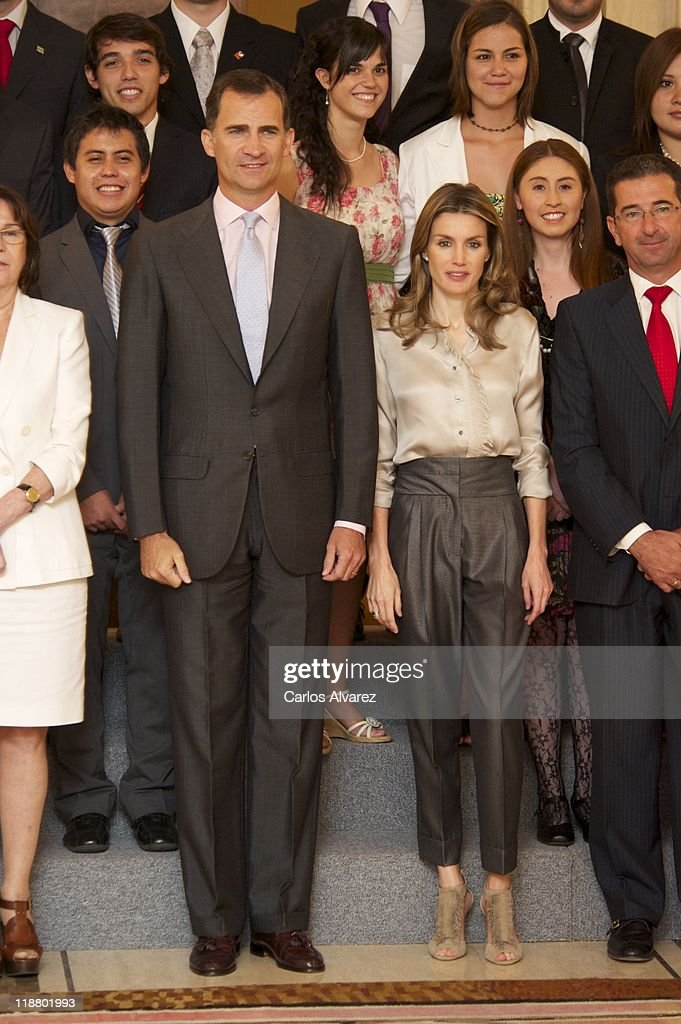 Prince Felipe of Spain and Princess Letizia of Spain attend audiences at Zarzuela Palace on July 11, 2011 in Madrid, Spain.