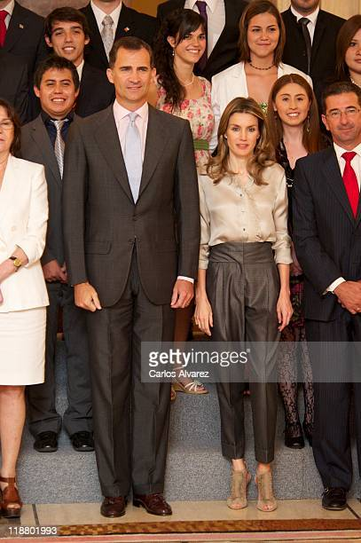 Prince Felipe of Spain and Princess Letizia of Spain attend audiences at Zarzuela Palace on July 11 2011 in Madrid Spain