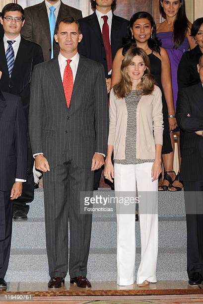 Prince Felipe of Spain and Princess Letizia of Spain attend audiences at Zarzuela Palace on July 21 2011 in Madrid Spain