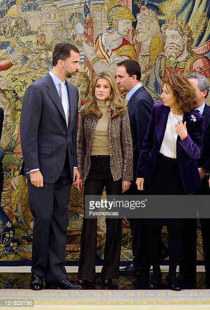 Prince Felipe of Spain and Princess Letizia of Spain attend Audiences at Zarzuela Palace on January 27 2011 in Madrid Spain