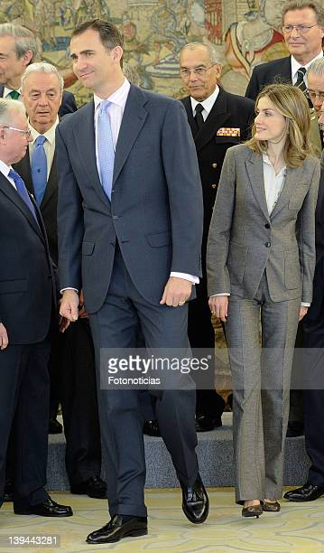 Prince Felipe of Spain and Princess Letizia of Spain attend audiences at Zarzuela Palace on February 21 2012 in Madrid Spain
