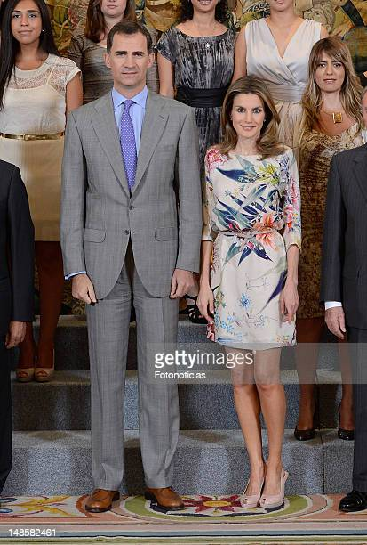 Prince Felipe of Spain and Princess Letizia of Spain attend Audiences at Zarzuela Palace on July 18 2012 in Madrid Spain