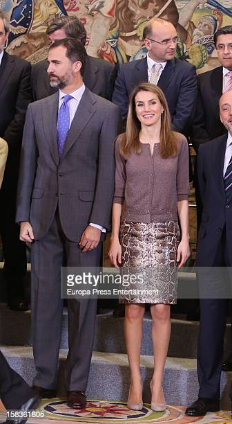 Prince Felipe of Spain and Princess Letizia of Spain attend audiences at Zarzuela Palace on December 14 2012 in Madrid Spain