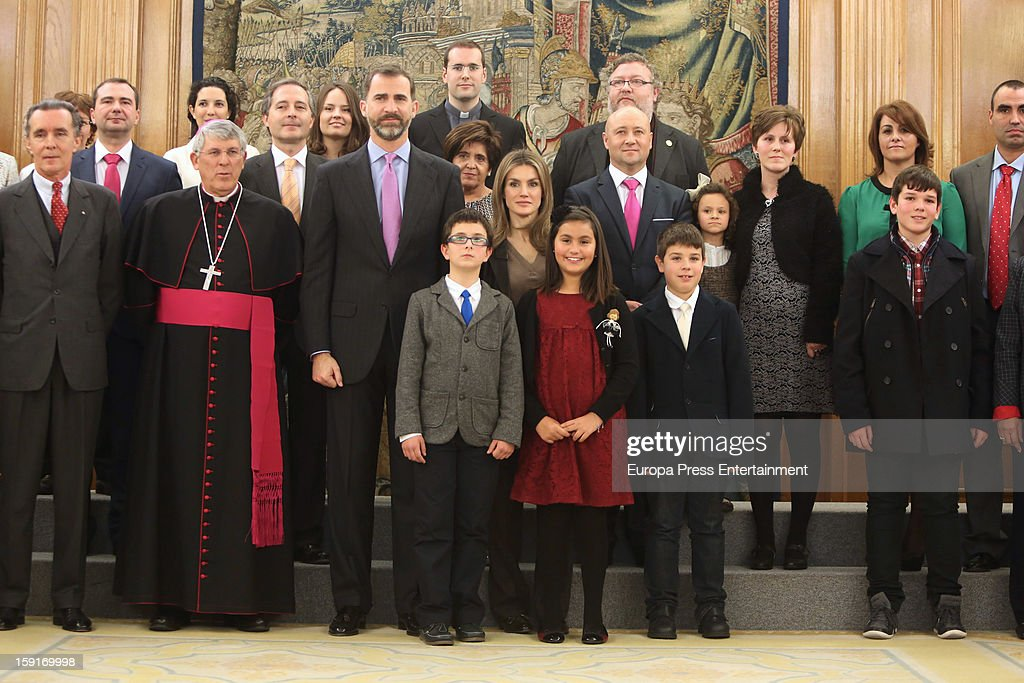Prince Felipe of Spain (centre L) and Princess Letizia of Spain (centre R) attend audiences at Zarzuela Palace on January 9, 2013 in Madrid, Spain.