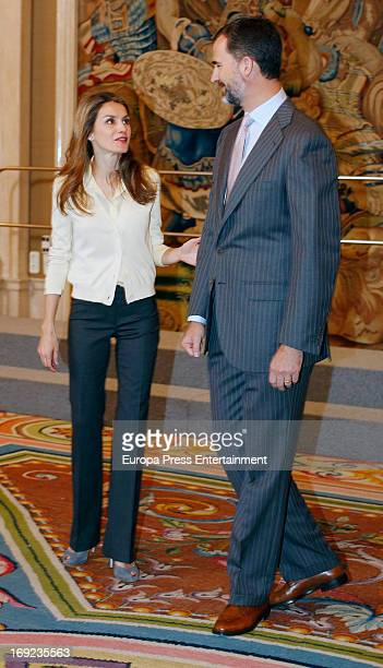 Prince Felipe of Spain and Princess Letizia of Spain attend audiences on their 9th wedding's anniversary at Zarzuela Palace on May 22 2013 in Madrid...