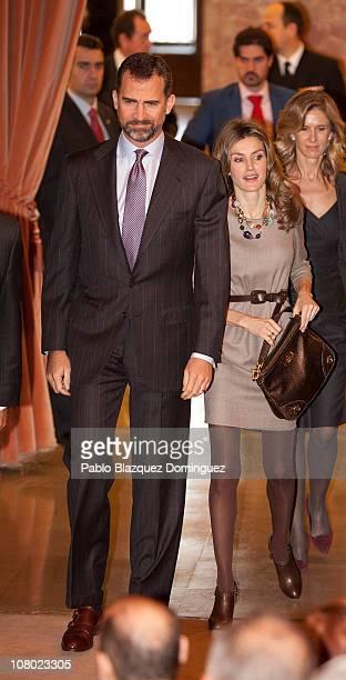 Prince Felipe of Spain and Princess Letizia of Spain attend 'Ciudad de la Ciencia y la Innovacion' Awards at CSIC Central Office on January 13 2011...