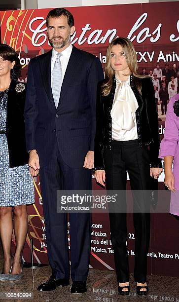 Prince Felipe of Spain and Princess Letizia of Spain attend 'Codespa' XXV Anniversary concert at the Auditorio Nacional de Musica on November 4 2010...