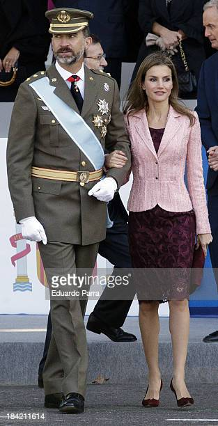 Prince Felipe of Spain and Princess Letizia of Spain attend National Day Military parade 2013 on October 12 2013 in Madrid Spain