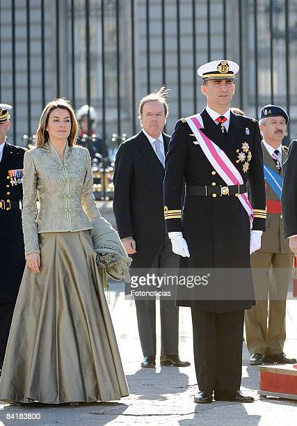 Prince Felipe of Spain and Princess Letizia of Spain attend New Year Military Pasques Reception at The Royal Palace on January 6 2009 in Madrid Spain