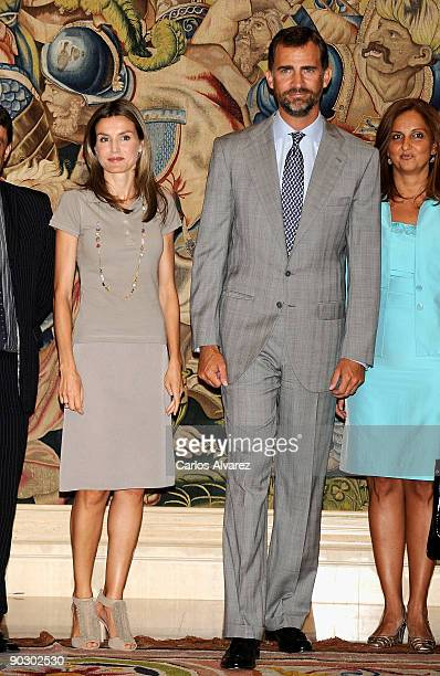 Prince Felipe of Spain and Princess Letizia of Spain attend Official Audiences at Zarzuela Palace on September 2 2009 in Madrid Spain