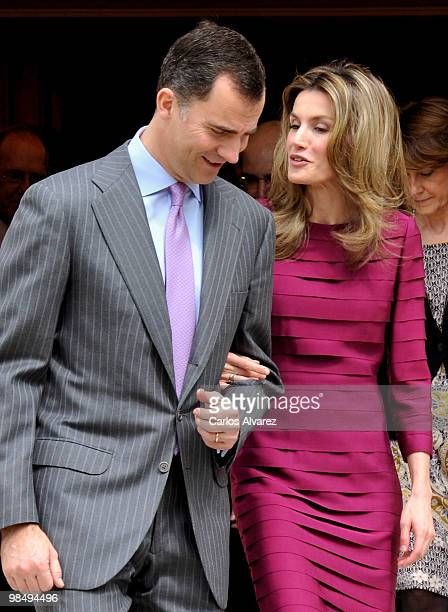 Prince Felipe of Spain and Princess Letizia of Spain attend official audiences at the Zarzuela Palace on April 16, 2010 in Madrid, Spain.