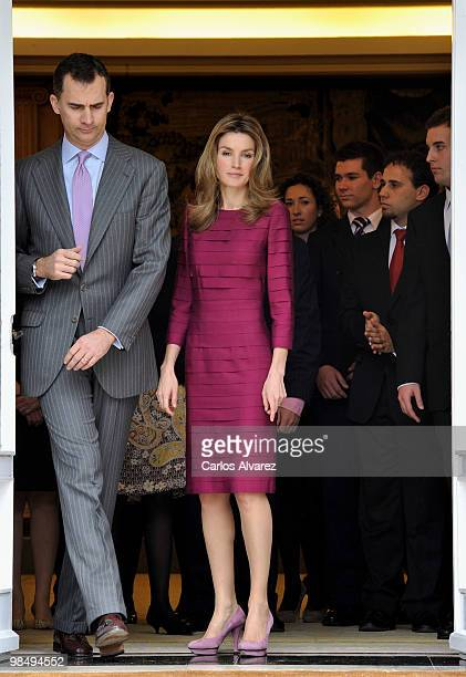 Prince Felipe of Spain and Princess Letizia of Spain attend official audiences at the Zarzuela Palace on April 16 2010 in Madrid Spain