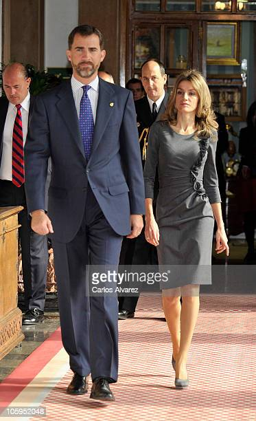 Prince Felipe of Spain and Princess Letizia of Spain attend 'Prince of Saturias awards 2010 Laureates' audience at the Reconquista Hotel on October...