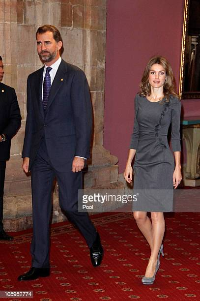 Prince Felipe of Spain and Princess Letizia of Spain attend 'Prince of Asturias Awards 2010' laureates audience at the Reconquista Hotel on October...
