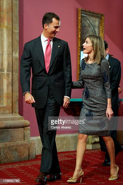 Prince Felipe of Spain and Princess Letizia of Spain attend 'Prince of Saturias awards 2011 Laureates' audience at the Reconquista Hotel on October...