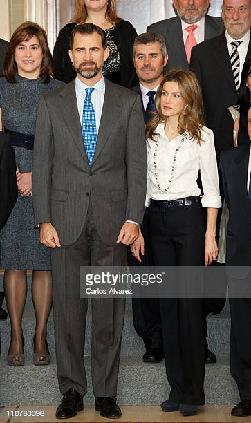 Prince Felipe of Spain and Princess Letizia of Spain attend several audiences at Zarzuela Palace on March 24 2011 in Madrid Spain